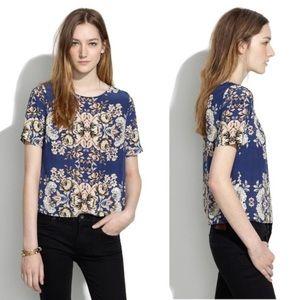 Madewell Pixelbloom Silk Floral Top